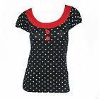 Authentic SOURPUSS Beki Black White Polka Dots Rockabilly Pin Up Top S-XXL New