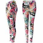 NEW LADIES NEON FLORAL PRINT STRETCH TROUSERS TURN UP WOMENS LONG CREPE PANTS