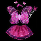 Kids Angel Girl Stage costume  Clothes Dancing dress  Butterfly Wings 4pcs Pink