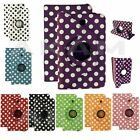 """Leather 360 Rotating Polka Dot Stand Flip Case Cover Samsung Tab 3 7"""" P3200 T210"""