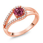 0.85 Ct Round Pink Tourmaline 18K Rose Gold Plated Silver Ring