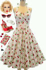 50s Style Eleanor Paige PINUP White Cherry Print SWEETHEART Bust HALTER SunDress