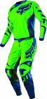 Fox Racing Mens & Youth Flo Green/Blue 180 Race Dirt Bike Jersey & Pants Kit