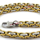 5.5mm Boy's Men's Gold 316L Stainless Steel Byzantine Box Chain Necklace