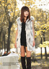 Qiudu Winter Real Rabbit Fur Vest Women Sleeveless Slim Long Waistcoat For Lady