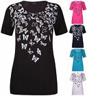 Womens New Plus Size Butterfly Print Ladies Short Sleeve Long Tunic T-Shirt Top