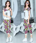 Women's Sport Running Sweat Suit Tops+Pants Summer Casual Short Sleeve Tracksuit