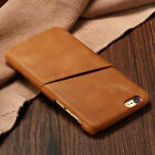 Retro 100% Genuine Leather Card Holder Hard Cover Case For iPhone 5 5s 6 6 Plus