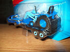 MAISTO 1/64 FORD BLUE F350 PICKUP TRUCK & FLATBED TRAILER W BLUE LOADER TRACTOR