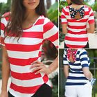 Sexy Women Summer Casual Striped Tee Shirt Loose Vest Girl Tops Blouse Lady Hot
