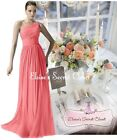 BNWT PAIGE Coral Sunset One Shoulder Chiffon Maxi Bridesmaid Dress UK 6 - 18