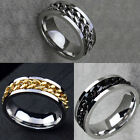 8mm Mens Silver/Gold/Black Curb Chain Center Stainless Steel Band Ring Size 7-12