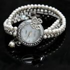 FW912B New Shiny Silver Band White Dial Ladies Imitated Pearl  Bracelet Watch
