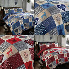 PATCHWORK STAG DEER HEARTS SNOWFLAKE REVERSIBLE QUILT DUVET COVER BLUE RED CREAM