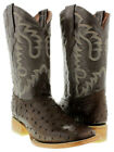 Men's Cowboy Boots Ostrich Quill Brown Leather Western Wear Rodeo Square Toe New