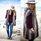 ZARA GREY/BROWN FUR OVERSIZED WAISTCOAT VEST JACKET SIZE MEDIUM