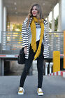 Zara Black And White Stripe Hooded Parka Jacket Coat Size Medium