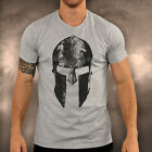 Mens Gym Spartan Grey Helmet T Shirt Fitness Muscle Top Boxing MMA Tee Cycling