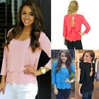 Sexy Womens Chiffon Blouses Sexy Open Back Scalloped Cutout Layered Shirts Tops