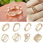 1PC Fashion Lady Crystal Inlay Hollow Crown Design Wedding Ring Women Party