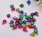 50pcs Mixed Color 6mm 8mm 10mm Steel Craft Jingle Bell Dangle Charm With Loop