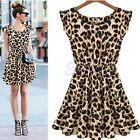 Women Ladies Summer Casual Sleeveless Leopard Evening Cocktail Party Mini Dress