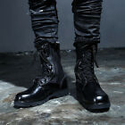 ByTheR Urban Solid Black Leather Zipper Detail Terrer Military Combat Boots