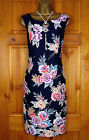NEW LAURA ASHLEY NAVY BLUE RED YELLOW WHITE PURPLE FLORAL SUMMER SHIFT DRESS