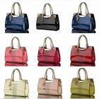 Vogue Women's Bag PU Enamel Leather  Messenger Hollow Handbag Tote Purse Handbag