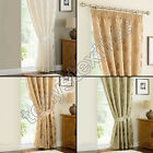 JACQUARD DAMASK FLORAL TAPE PENCIL TOP FULLY LINED CURTAINS GREEN GOLD CREAM