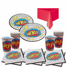 Boys Superhero Birthday Party Kit for 8,16, 24, 32,40 guests PLates Cups Napkins