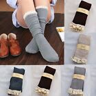 Women Crochet Over The Knee Lace Trim Stockings Boot Socks Cotton Leg Warmers