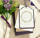Floral Wreath PLUM Save The Date Luggage Tags - Set of 25 Plus Free Envelopes