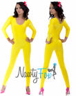 Yellow Scoop Neck Long Sleeve Shiny Spandex Unitard Jumpsuit Costume S-2X