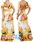 Orange Flower One Shoulder Ruffle Maxi Dress Casual Summer Vacation Dress XS-3XL