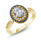 1.55 Ct Oval White Topaz 18K Yellow Gold Plated Silver Ring