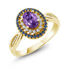 1.35 Ct Oval Purple Amethyst 18K Yellow Gold Plated Silver Ring