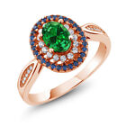 1.84 Ct Oval Green Simulated Emerald 18K Rose Gold Plated Silver Ring