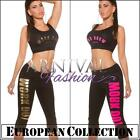 NEW SEXY 2 piece CROP TOP + PANTS set XS S M L WOMEN'S CROPPED PRINT OUTFIT GYM