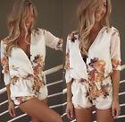 Sexy Womens White Floral Mini Playsuit Jumpsuit Summer Shorts Beach Dress