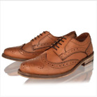 MENS LEATHER BROGUE LACE UP TAN SMART FORMAL OFFICE WORK PARTY SHOES BOOTS SIZE