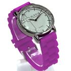 FW824K Round PNP Shiny Silver Watchcase Silicone Violet Band Women Fashion Watch