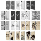HEAD CASE DESIGNS DRAWN TYPO LEATHER BOOK WALLET CASE FOR APPLE iPHONE PHONES