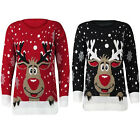 Ladies Reindeer XMAS Jumper Womens Rudolf Christmas Knit Top Size 8-14