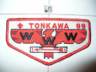 OA Tonkawa Lodge 99, S-13, 1981 BRO Flap, Fat Beak, WHT Bkg, Capitol Council, Texas, TX