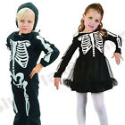 2-3 YRS CHILDRENS KIDS BOYS GIRLS SKELETON TODDLER HALLOWEEN FANCY DRESS COSTUME