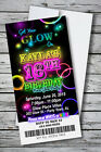 100 GLOW THEME NEON DISCO Birthday Party Invitation Prints w/ envelopes $1.33 ea