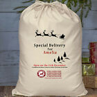 Christmas Personalised Cotton Santa Sack Stocking Gift Bag Special Delivery Name