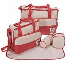 5 Pcs Baby Diaper Nappy Bag Mommy Bottle Holder Shoulder Hangbag Travel Set