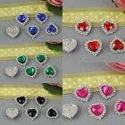 10 Pcs Acrylic Silver Tone Rhinestone Gem Heart Shape Buttons For Scrapbooking